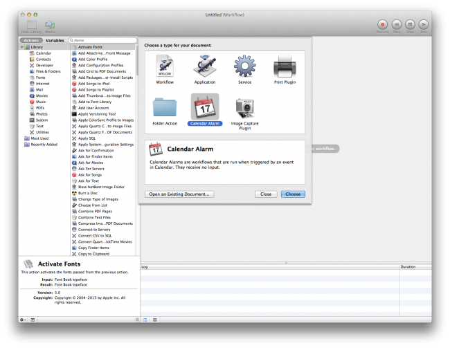 New Workflow in Automator