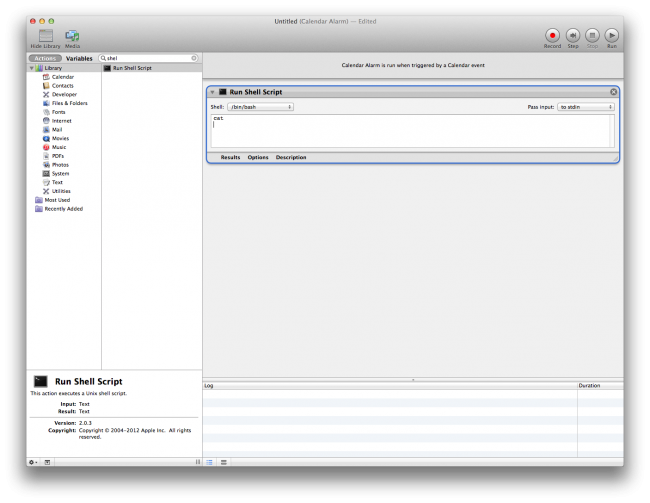 Run Shell Script in Automator
